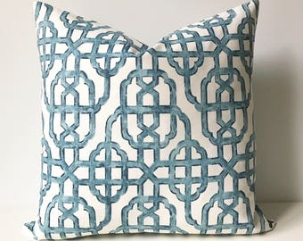 Both sides, Navy blue trellis decorative pillow cover, imperial lattice pillow
