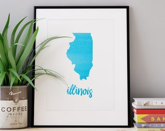 Custom PDF Printable • Watercolor States • Choose State & Colors • Digital Download