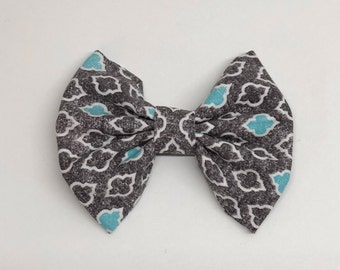 Charcoal and blue dog bow tie