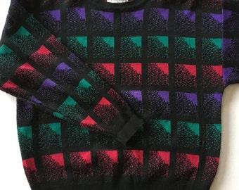Vintage Silvercord 80's Sweater Black Purple Green Red Petitie