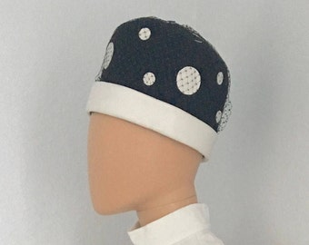 1960's black vintage mod hat with white polka dots
