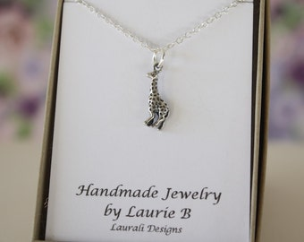 Giraffe Charm Necklace, Friendship Gift, Sterling Silver, Bestie Gift, Wildlife, Thank you card, Nature, Animal