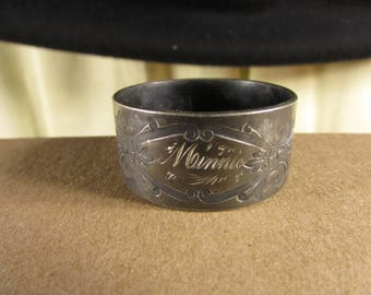 Shabby Edwardian Silver Plate Napkin Ring Small Size Engraved Minnie