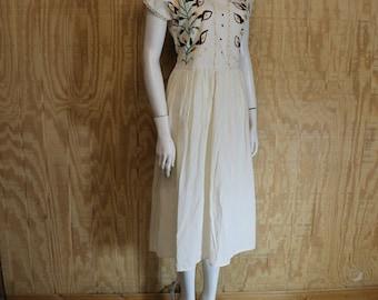 Vintage 1970's Cotton Muslin Hand Embroidered Canna Lily Crochet Hippie Boho Shift Dress Small Medium S / M