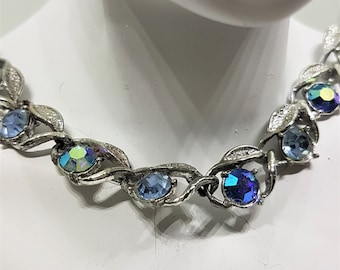 Blue crystal choker, vintage AB choker, choker necklace, vintage necklace, aurora borealis, gift for ladies, vintage jewelry