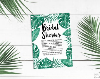 Tropical Invitation | Bridal Shower Invitation | Kitchen Tea Invitation | Printed Bridal Shower Invitation | Palm | Monstera | Banana Leaf