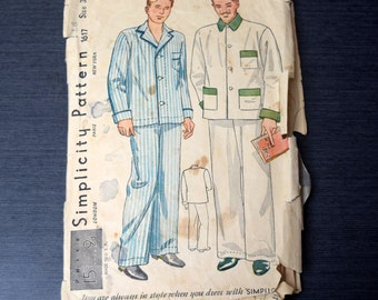 Simplicity 1617 Mens 1930s Pyjamas Sewing Pattern Size 32 Mens Pajamas Jacket and Pants Unprinted Complete AS IS