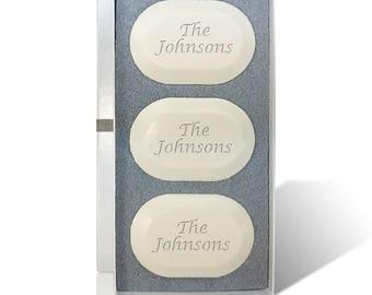 Personalized Soap Set, Engraved Monogram Soap Set, Three Bar Soap Set, Oval Carved Soap Set, Personalized Hostess Gift, Housewarming Gift