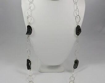 Black Onyx Druzy Sterling Silver Long Necklace