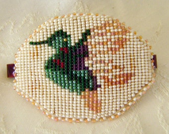 Hand Beaded Large Barrette Depicts Hummingbird, Just Lovely Green White Brown