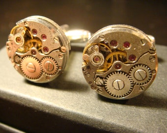 Steampunk Cuff Links Mens Accessories made with Vintage Watch Movements (2269)