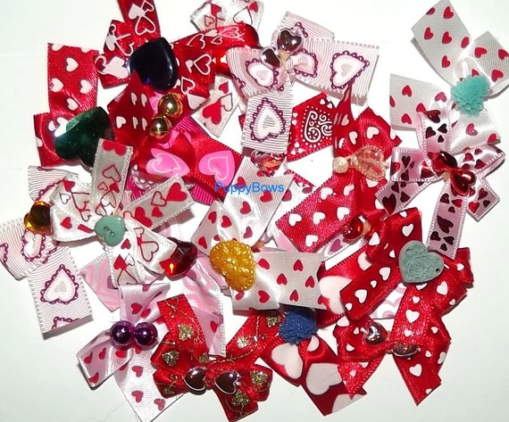 Puppy Bows ~Bow color HOLIDAY mixes for dog grooming Yorkie Maltese Shih Tzu ~USA seller