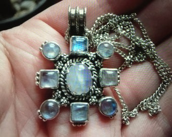 Vintage Moonstone and Silver Pendant - 1940's