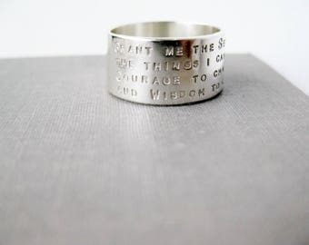 Serenity Prayer Wide Sterling Ring - Solid Sterling, 10mm Wide Personalized Ring, Graduation Gift, Inspiration