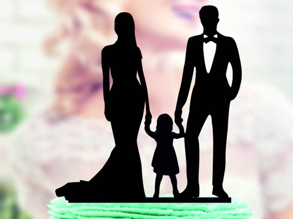 Love Family Wedding Cake Topper Bride and Groom with little