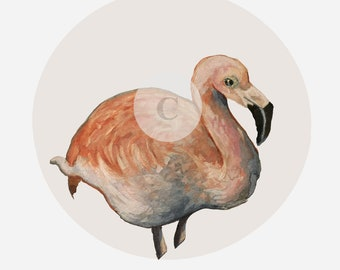 print, watercolor - Flamingo - the flamingo