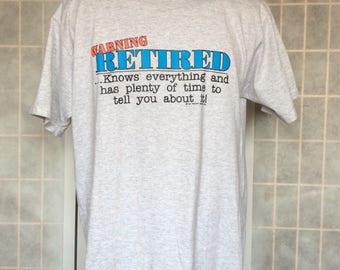 Vintage 1991// Retired// Heather Gray// Humorous// Crew Neck T Shirt// L