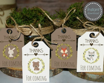 Woodland favor tags, woodland favors, Woodland baby shower tags, printable favor tags, thank you tags, woodland tags