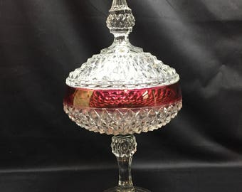 Ruby Flash Compote with Lid Indiana Glass Diamond Point