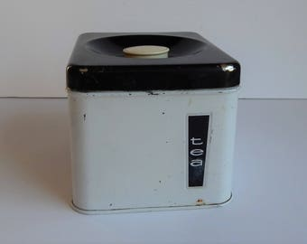 White and Black Tea Canister by Lincoln Beauty Ware