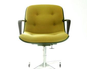 Vintage Mid Century Modern Knoll Steelcase Avocado tweed Office Chair