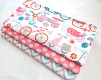Baby Girl Burp Cloths - Gift Set for Baby Girl - Bikes and Scooters - Pink, Coral, Aqua, Gray and Red prints - great baby shower gift