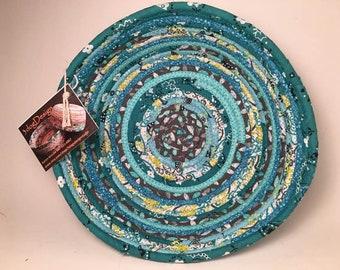 Fabric Bowl - Coiled Rope Basket - Clothesline Basket - Rag Basket - Fiber