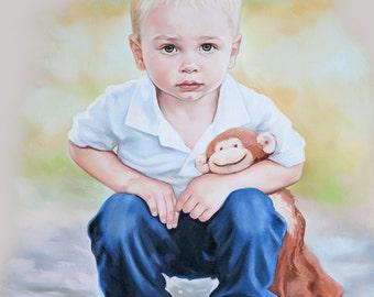 Child portrait, with favorite blanket. Pastel portrait.