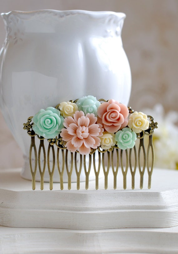 Mint Green Pink Ivory Flower Hair Comb Mint and Pink Wedding