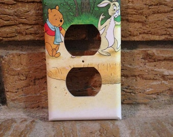 Winnie the Pooh and Rabbit Electrical Outlet Cover, Winnie the Pooh Nursery, Winnie the Pooh Decor Winnie Pooh Rabbit, Winnie the Pooh WTP11