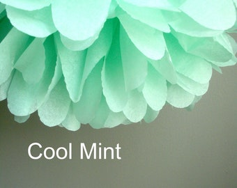 Cool Mint Tissue Paper Pom Poms - Baby Shower - Fall Colors - Decoration - Wedding - Nursery - Bridal Shower - Birthday Party Decor