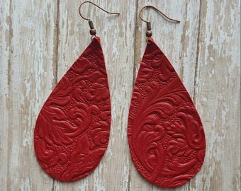 Leather earrings~ boho earrings~ bohemian earrings~ rustic jewelry~ red jewelry ~ red earrings
