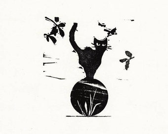 "Original Woodcut Cat Art Handmade Limited Edition Print ""01.24-Lift"""
