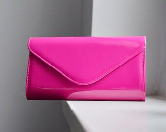 SALE Fuchsia clutch, Hot Pink purse, Fuchsia Clutch Purse, Bridesmaid Clutch Bag, Maid of Honor purse, Pink wedding purse