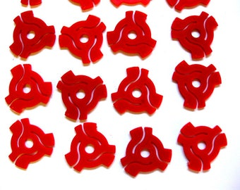 Vintage 45 rpm Record Adaptors, Bright Red