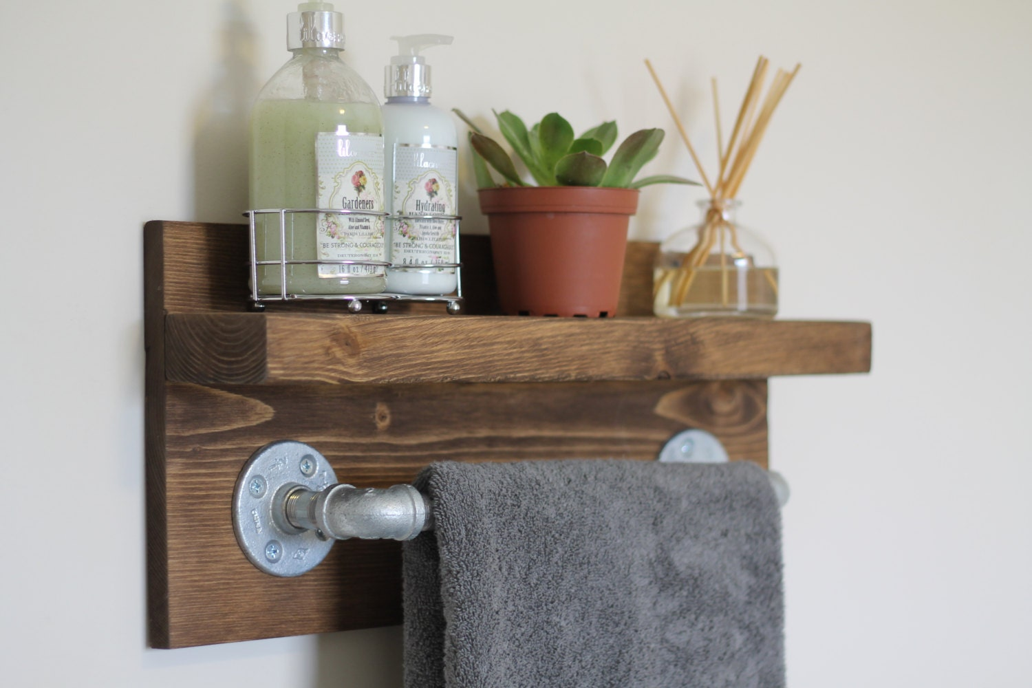 Small Rustic Industrial Towel Rack, Bathroom Shelf, Rustic Home ...