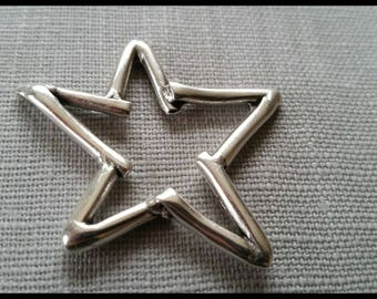 65 mm silver plated antique silver metal star pendant
