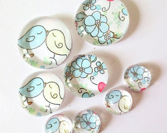 "Lot 8 ""SO CUTE - birds"" (craftsmanship) theme cabochons 12mm / 20mm / 25mm"