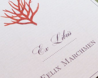 CUSTOM BOOKPLATES with Red Coral Chinoiserie Motif - set of 24