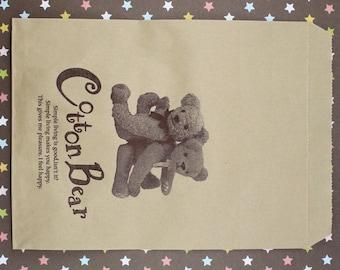 25 Cotton Bear Kraft Paper Bags