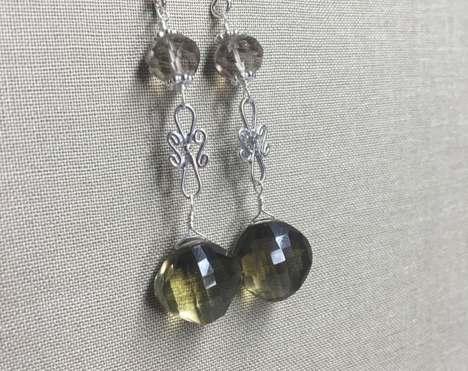 Smoky Quartz and BiColor Lemon Quartz Earrings with Sterling Silver and Bali Silver Accents