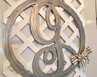 Monogram Door Hanger - Door Hanger - Door Wreath - Monogram Wedding Gift - Monogram Home Decor - Rustic Home Decor - Rustic Wedding Decor- G