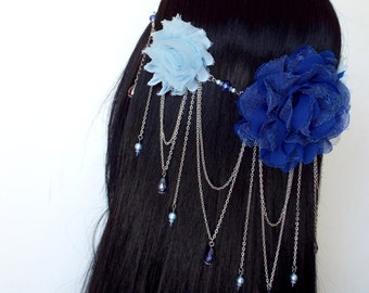 Blue Fairy Headdress with fabric flowers, beads, and silver chain