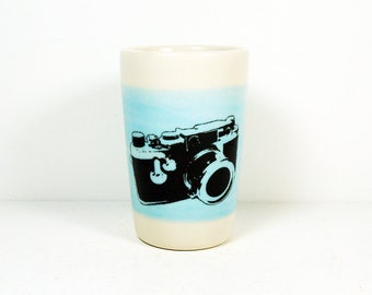 itty bitty cylinder / vase / cup with a Leica camera print on a cloudless blue band READY TO SHIP
