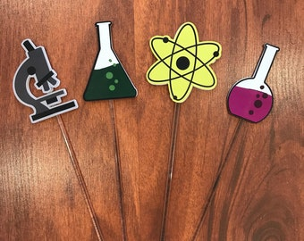 Science Cupcake Toppers and Party Prop Sign