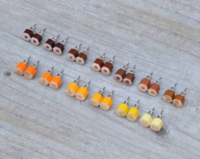 Autumn Colour Pencil Stud Earring, Yellow Colour Pencil Ear Studs, Orange Earring Stud, Brown Pencil Stud Earring, Handmade In England