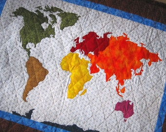World map quilt etsy our world patchwork map quilt pattern full sized templates and clear instructions from quilts by elena gumiabroncs Image collections