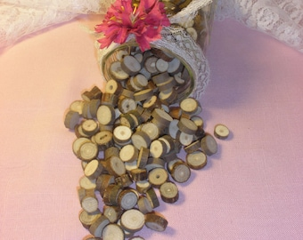 Rustic Wedding, Vase Filler, Table Scatter, Confetti, Tree Branch Slices, Lot of 250-300 Wood Rounds