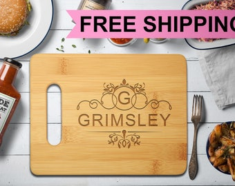 Bamboo Cutting Board, Personalized Custom Engraved Monogram CB-GRM