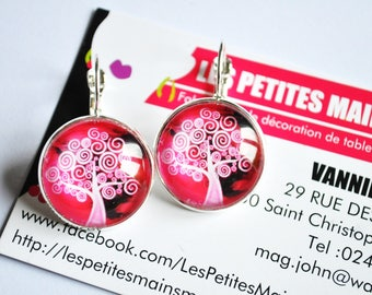 earring tree of life pink cabochon 2cm
